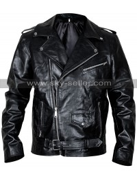 Men's Classic Brando Police Biker Style Black Leather Jacket