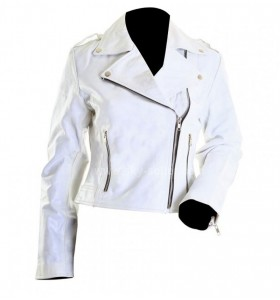 Brando White Ladies Rider Motorcycle Leather Jacket