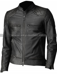 David Beckham Brazil Vintage Slim Fit Biker Quilted Leather Jacket