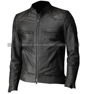 David Beckham Brazil Vintage Slim Fit Biker Quilted Leather Jacket