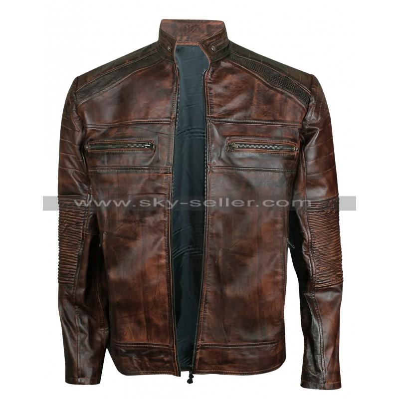 Vintage Motorcycle Cafe Racer Brown Distressed Jacket