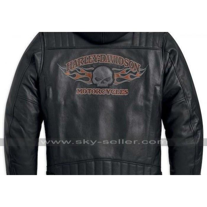 Harley Davidson Burning Skull Biker Leather Jacket