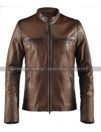 Vintage Men's Antique Brown Cafe Racer Biker Jacket