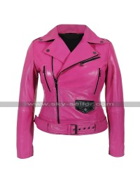 Womens Brando Biker Belted Cafe Racer Pink Motorcycle Leather Jacket