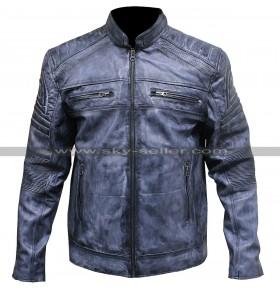 Men Vintage Style Distressed Blue Cafe Racer Motorcycle Leather Jacket