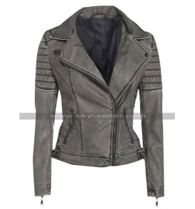 Womens Cafe Racer Antique Retro Biker Vintage Grey Leather Jacket