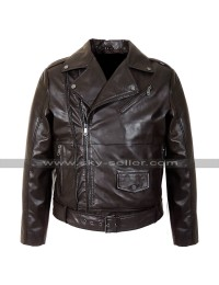 Cafe Racer Vintage Biker Brown Belted Zipper Motorcycle Leather Jacket