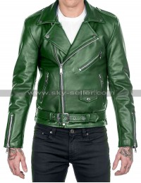 Mens Cafe Racer Brando Biker Green Motorcycle Leather Jacket