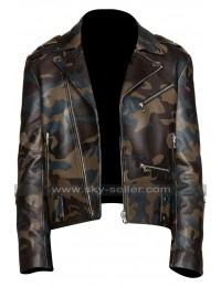 Mens Brando Motorcycle Vintage Biker Camouoflage Leather Jacket