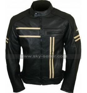 Mens Cafe Racer Retro Biker Vintage Cruiser Black Motorcycle Leather Jacket