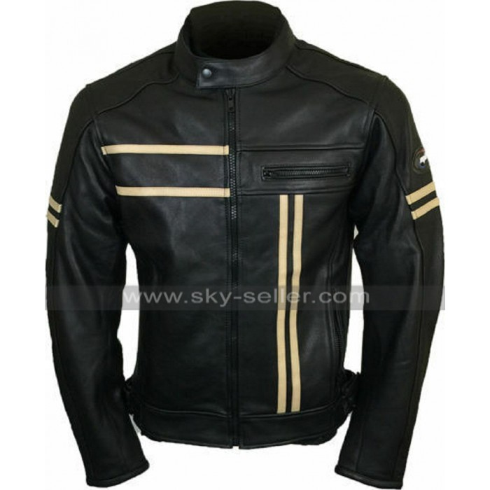 Mens Cafe Racer Retro Biker Vintage Cruiser Black Motorcycle Leather Jacket