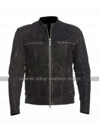 Mens Cafe Racer Fury Biker Quilted Black Road Motorcycle Leather Jacket