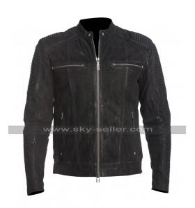 Mens Cafe Racer Fury Biker Quilted Black Road Motorcycle Leather Jacket