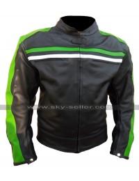 Mens Cafe Racer Black Biker Retro Green Striped Motorcycle Leather Jacket