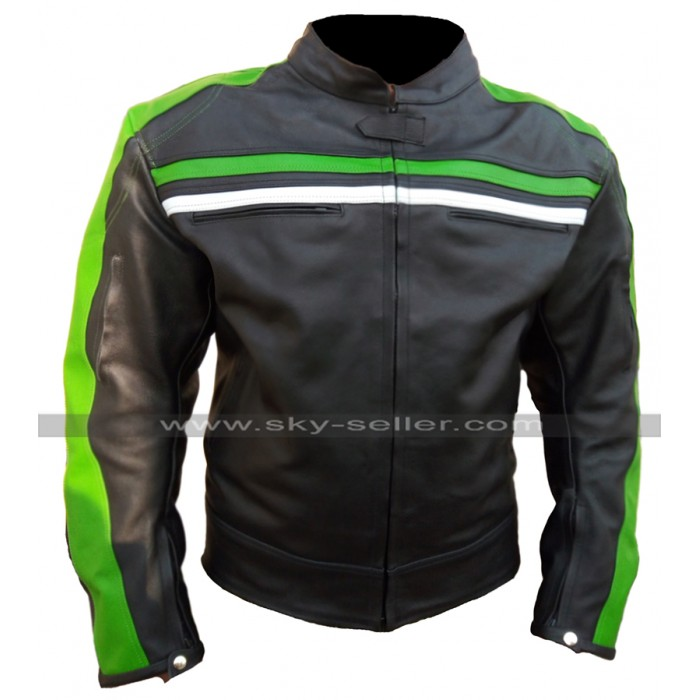 Mens Cafe Racer Black Biker Retro Green Striped Motorcycle Leather Jacket