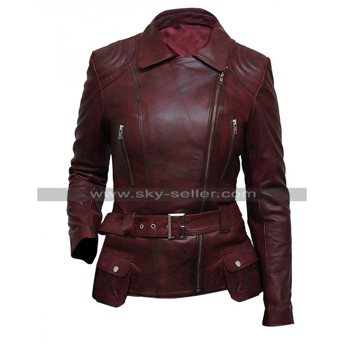Womens Cafe Racer Belted Biker Vintage Motorcycle Distressed Maroon Leather Jacket