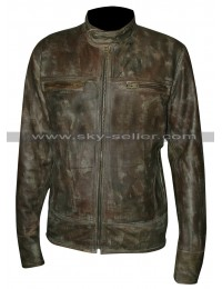Vintage Style Distressed Leather Cafe Racer Biker Jacket