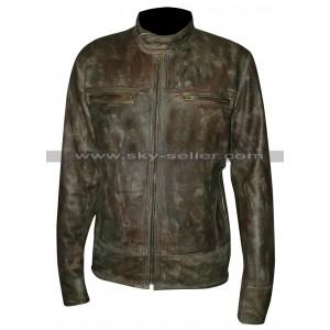 Vintage Style Distressed Leather Cafe Racer Biker Jacket
