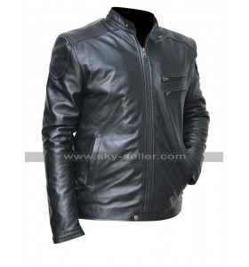 Mens Cafe Racer Slim Fit Black Shiny Biker Leather Jacket