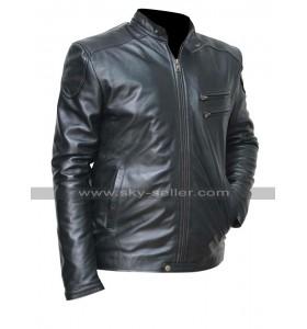 Mens Cafe Racer Slim Fit Black Shiny Biker Leather Jacket