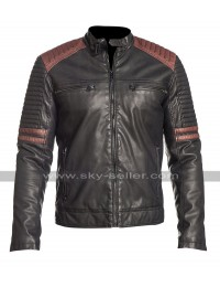 Cafe Racer Quilted Biker Powerhorse Retro Black Motorcycle Leather Jacket