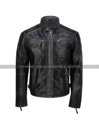 Mens Vintage Biker Cafe Racer Distressed Black Motorcycle Leather Jacket