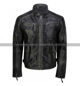 Mens Vintage Biker Cafe Racer Distressed Black Motorcycle Leather Jacket