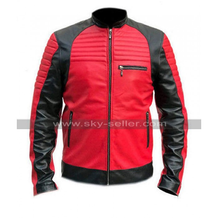 Mens Cafe Racer Quilted Retro Motorcycle Red Black Motorbike Leather Jacket