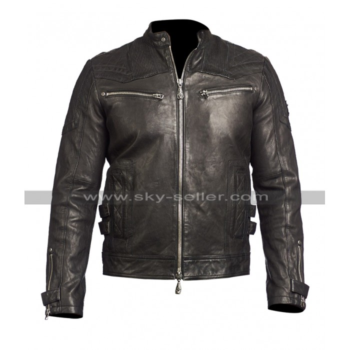 Mens Cafe Racer Vintage Brown Quilted Fire On Biker Motorcycle Leather Jacket