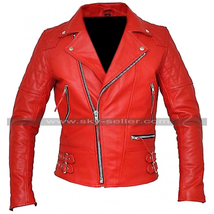 Brando Classic Red / Black Biker Diamond Quilted Shoulders Motorcycle Leather Jacket