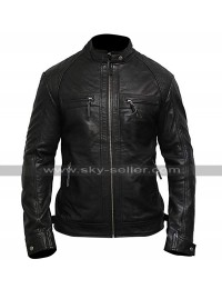 Mens Cafe Racer Biker Vintage Black Motorcycle Leather Jacket