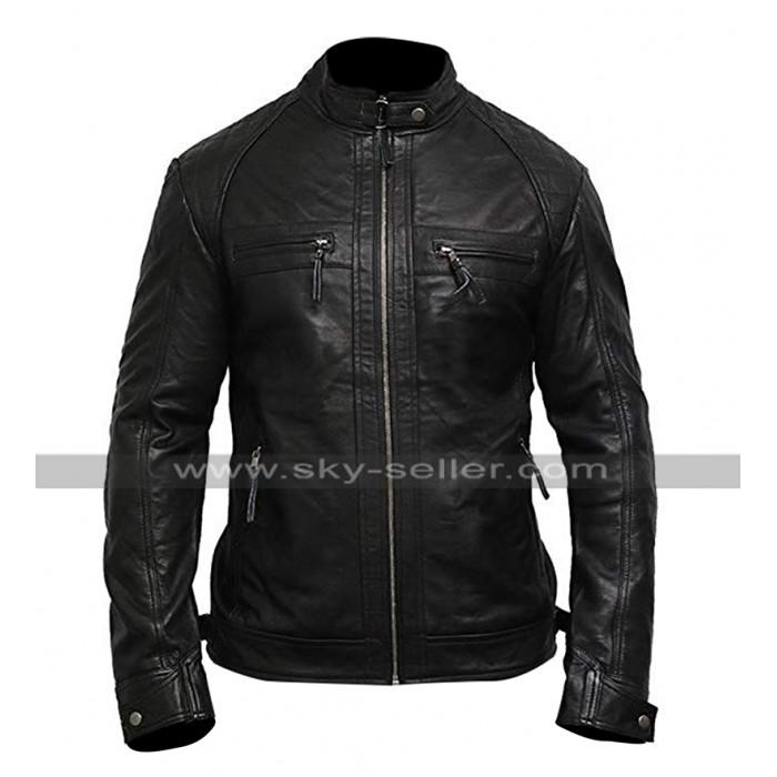 Mens Cafe Racer Biker Vintage Black Motorcycle Leather Jacket