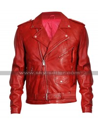 Mens Cafe Racer Brando Biker Vintage Classic Red Motorcycle Leather Jacket