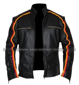 Mens Vintage Cafe Racer Black Biker Retro Striped Motorcycle Leather Jacket