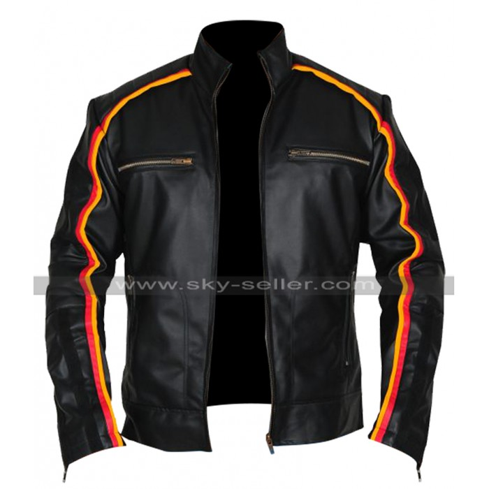 Mens Vintage Cafe Racer Black Biker Retro Striped Motorcycle Leather Jacket