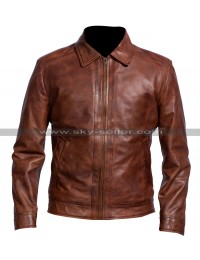 Men Biker Retro Classic Shirt Collar Distressed Brown Leather Jacket