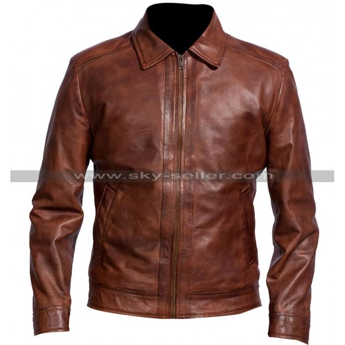 Men Biker Retro Classic Shirt Collar Distressed Brown Leather Jacket