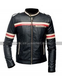 Cafe Racer Stiped Biker Quilted Black Lambskin Leather Jacket for Men
