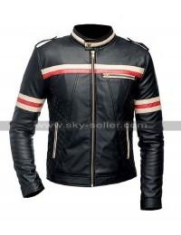 Cafe Racer Stiped Biker Quilted Black Lambskin Leather Jacket for Men