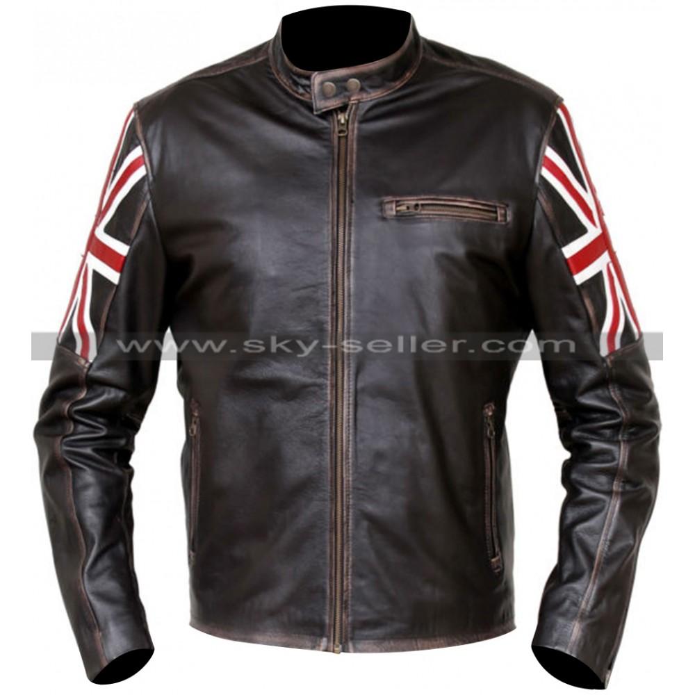 UK Flag Cafe Racer Vintage Style Distressed Brown Jacket
