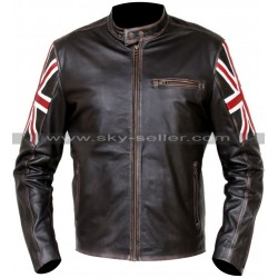 UK Flag Cafe Racer Vintage Style Distressed Brown Jacket