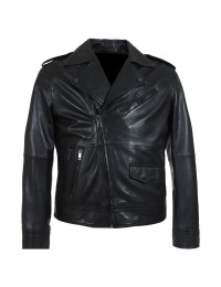 Cafe Racer Belted Biker Zipper Black Motorcycle Leather Jacket