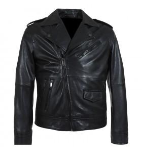 Cafe Racer Belted Biker Zipper Black Motorcycle Leather Jacket