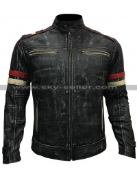 Vintage Café Racer Distressed Black Retro Biker Jacket
