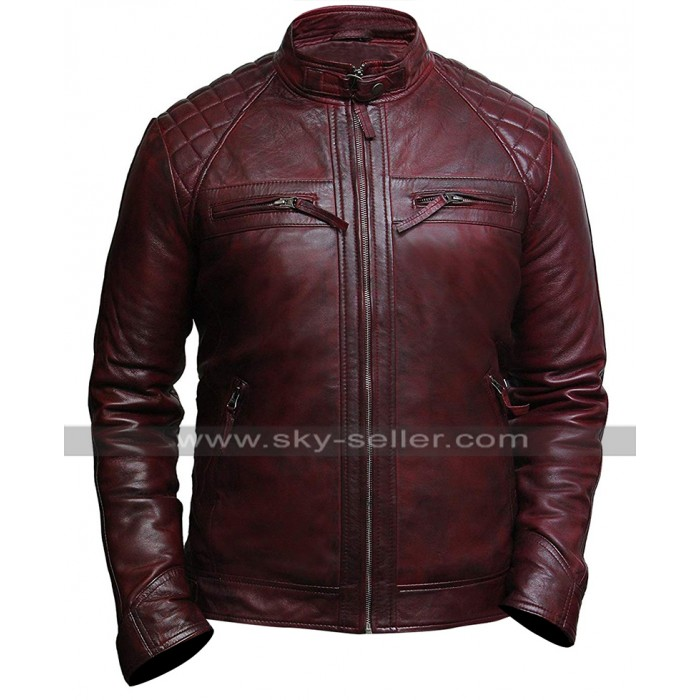 Mens Cafe Racer Vintage Biker Quilted Shoulders Distressed Red Leather Jacket
