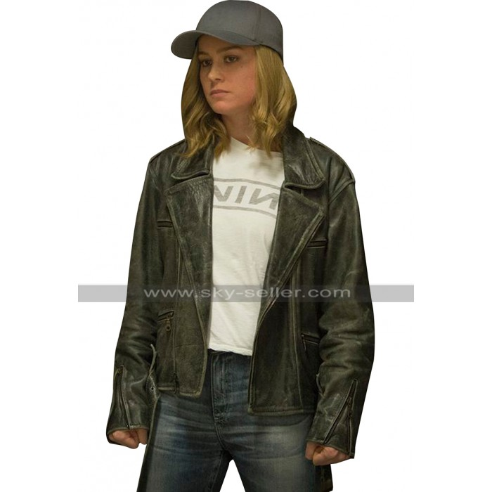 Brie Larson Captain Marvel Carol Danvers Black Biker Leather Jacket
