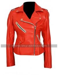 Charlotte Mckinney Brando Slim Fit Red Biker Leather Jacket