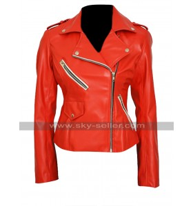 Charlotte Mckinney Brando Slim Fit Red Biker Leather Jacket