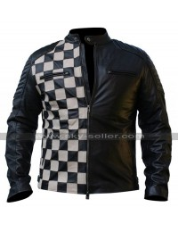 Mens Cafe Racer Checkerboard Style Black Biker Leather Jacket