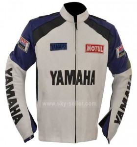 Classic Yamaha Motorcycles White and Blue Leather Jacket
